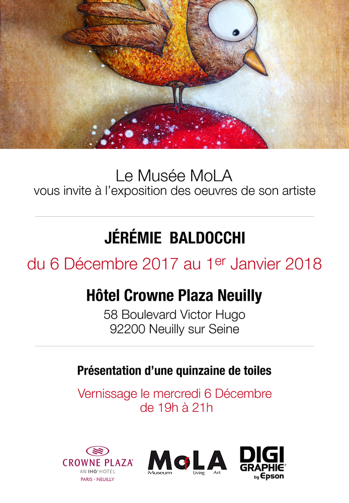 Solo exhibition: Crowne Plaza Hotel  Paris – FRANCE from 06 to 31 December 2017
