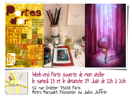 Solo exhibition: Open artists' studios in the district of Goutte d'Or 2015 – Paris – France June 13 and 14, 2015