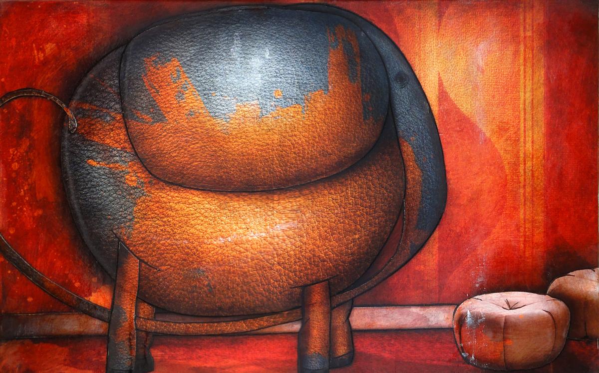 Artwork: Elephant painted orange