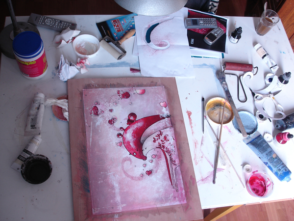 Artist workshop of the contemporary painter Jérémie Baldocchi from 2004 to 2013