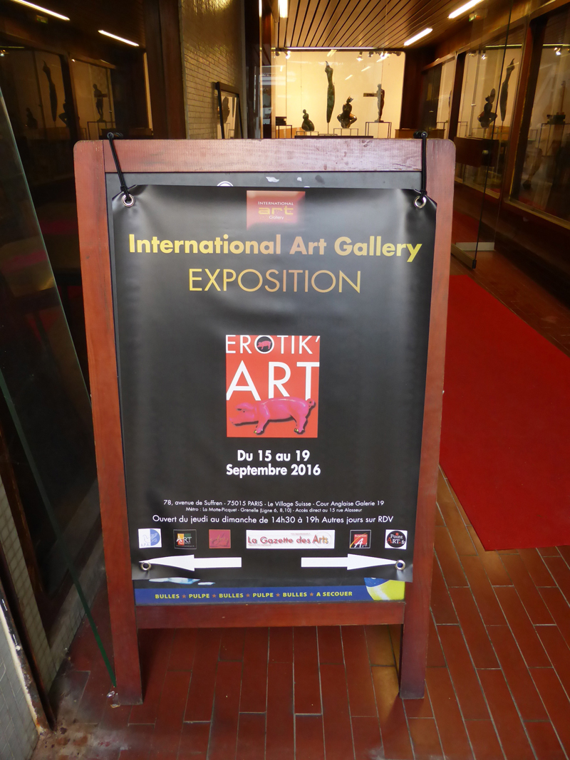 Group exhibition Erotik'Art – International Art Gallery – Paris – FRANCE from 15 to 19 September 2016