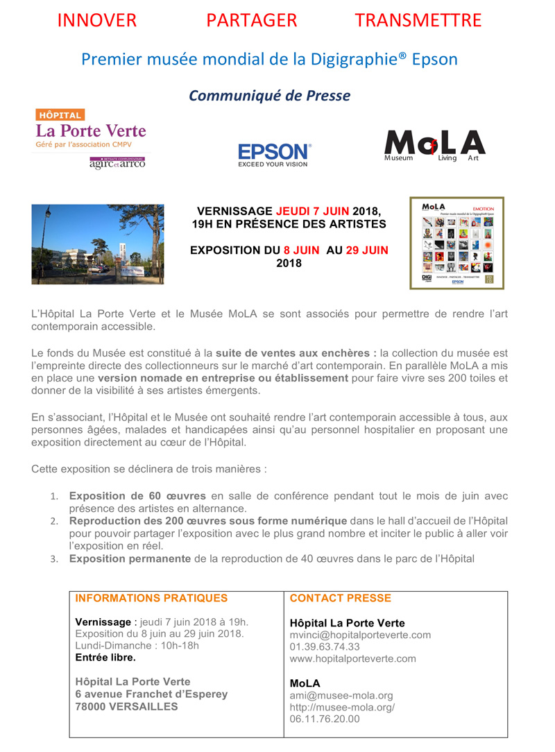 "Group exhibition Mola Museum Park and Hospital of the ""Porte Verte"" FRANCE from 8  to 29 june 2018"