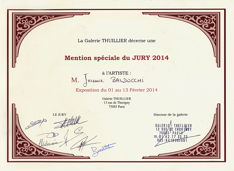 Group exhibition Jury and the Press Prize – Gallery Thuillier – Paris from 1 to 27 February 2014