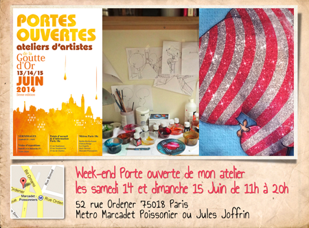 Solo exhibition: Open artists' studios in the district of Goutte d'Or 2014 – Paris – France June 14 and 15, 2014