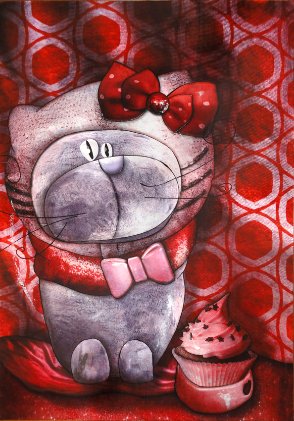 Artwork: Cat disguised as Hello Kitty