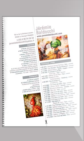 Artistic resume of the painter Jeremie Baldocchi Spanich version in PDF format
