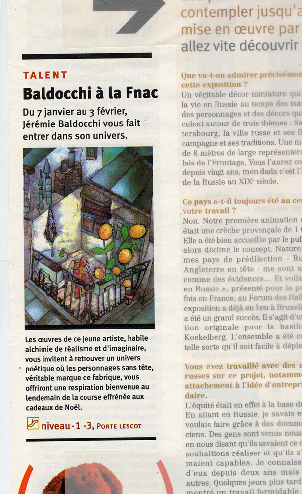 Press article in the newspaper of Forum des Halles