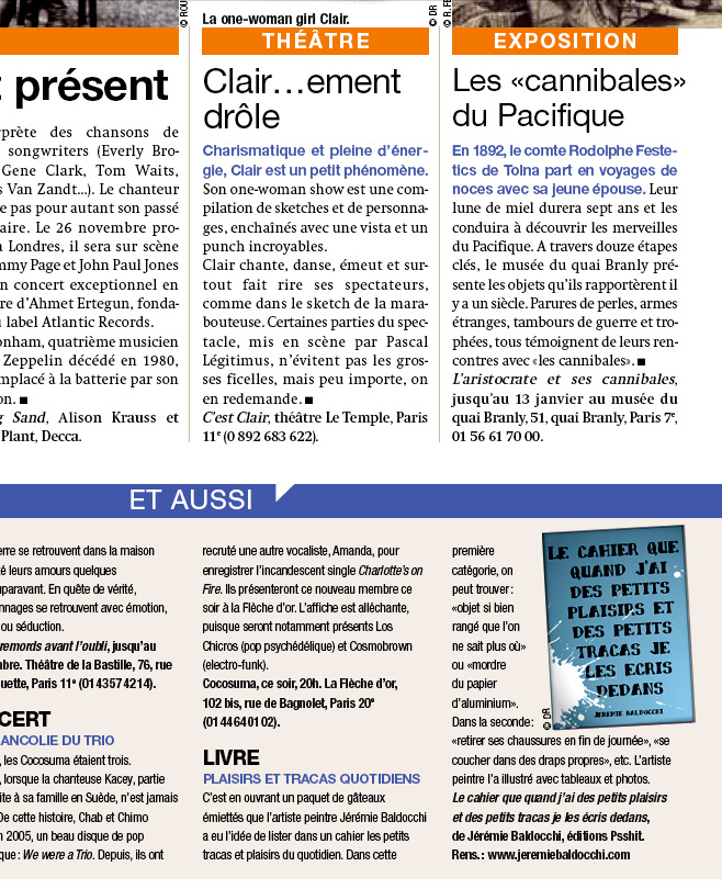 Press article newspaper Matin plus
